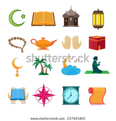 Islamic church traditional symbols icons set isolated  illustration - stock photo