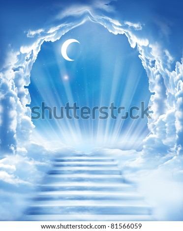 islamic fantasy.stairs in sky - stock photo