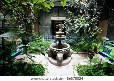 Islamic garden in Tanger, Morocco, Africa - stock photo
