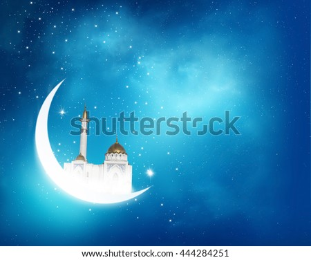 Islamic greeting  Eid Mubarak cards for Muslim Holidays.Eid-Ul-Adha festival celebration . Ramadan Kareem background with crescent moon and shiny Mosque in the sky - stock photo