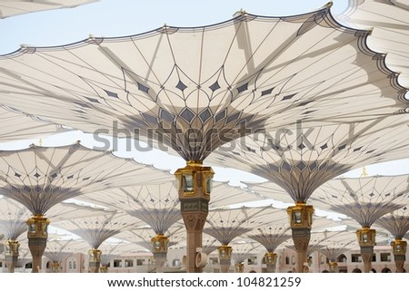 Islamic Holy Mosque at Medina in highest unique resolution of 36 mega-pixels - stock photo