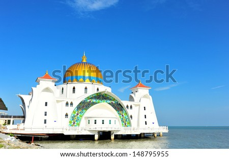 Islamic Mosque by the Sea - stock photo