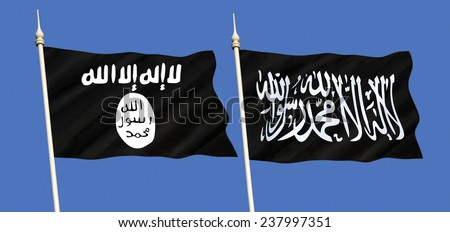Islamic State (ISIS, ISIL) - Sunni jihadist group. Self-proclaimed as a caliphate, it claims religious authority over Muslims worldwide. Al-Qaeda is a global militant Islamist organization. - stock photo