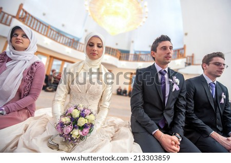Islamic wedding ceremony in mosque - stock photo