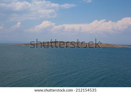 Island above the sea in Sozopol in Bulgaria  - stock photo