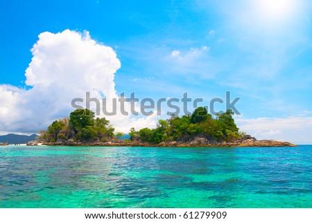 island and beautiful tropical sea - stock photo