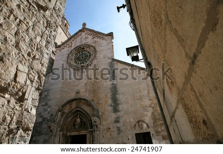 Island and city of Corcula, Korcula,Croatia - stock photo