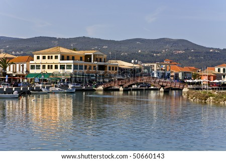Island and city of Lefkada at ionio, Greece