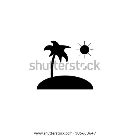 Island and palm. Simple black flat pictogram on white background