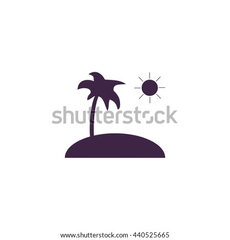 Island and palm. Simple blue icon on white background