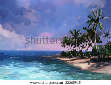 Island and the warm sea - stock photo