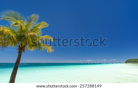 Island Boracay, Philippines. Boat Station One, White beach place
