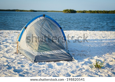 Island Camping in South Florida. - stock photo