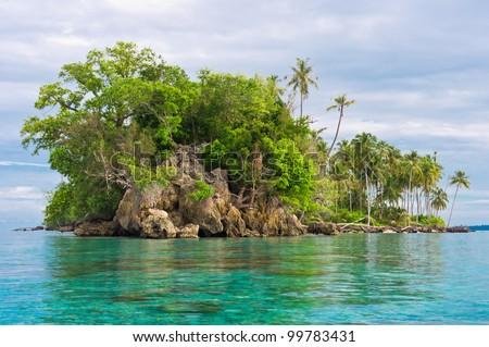 Island Coastline after Tsunami, Banyak Archipelago, Aceh, Indonesia, Southeast Asia - stock photo
