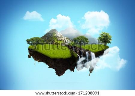 island floating on sky. - stock photo