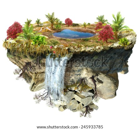 island flying with a a lake and trees, a waterfall on the from above flipped mountain is flying in space - stock photo
