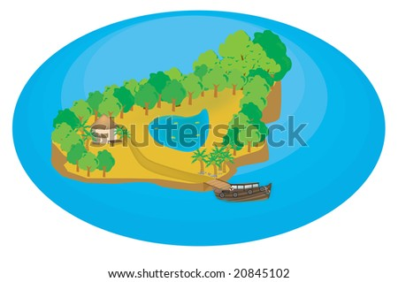 island illustration with closeup details