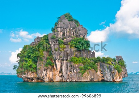 Island in Halong Bay, Vietnam, Southeast Asia - stock photo