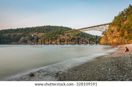 island in ,scenic view of the Deception bridge in Deception pass state park area,Washington,USA. - stock photo