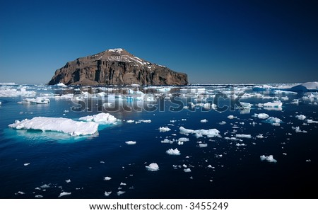 Island in the Antarctic Sound - stock photo