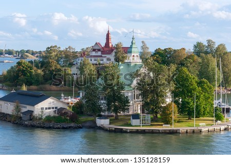 island in the Baltic Sea near Helsinki. Finland. - stock photo