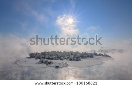 Island in the city of Irkutsk on the Angara River in winter in January.  - stock photo