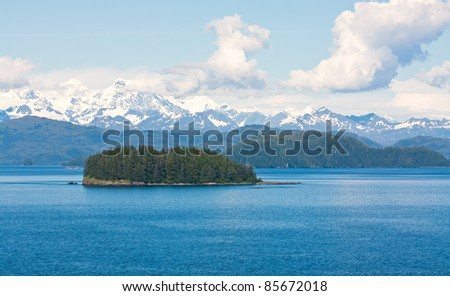 Island in the Gulf of Alaska Wilderness - stock photo