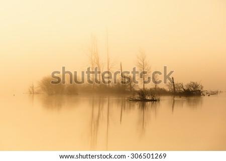 Island in the misty sunrise - stock photo