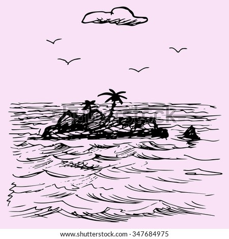 Island in the ocean, doodle style, sketch illustration, hand drawn, raster - stock photo