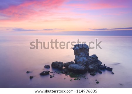 Island in the sea - stock photo