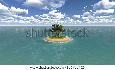 Island in the sea - stock photo