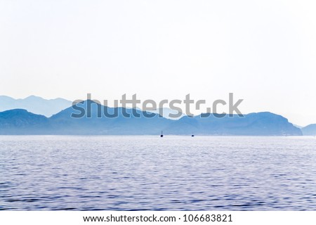 Island Mljet early morning panorama, near Dubrovnik, Croatia. - stock photo
