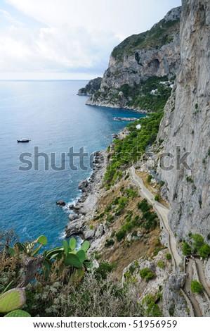 Island of Capri Coastline - Italy - stock photo
