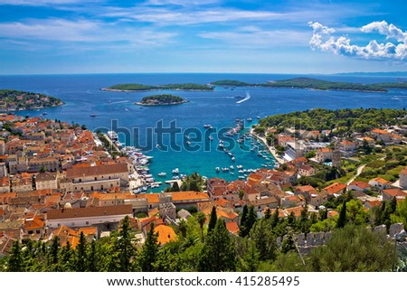 Island of Hvar bay aerial view, Dalmatia, Croatia - stock photo