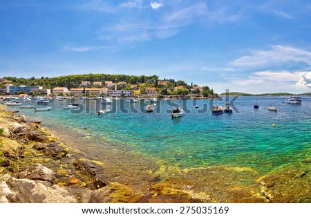 Island of Hvar waterfront view, Dalmatia, Croatia - stock photo