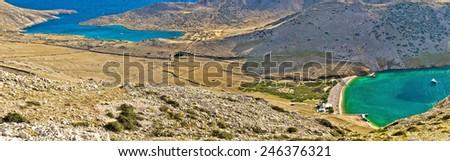 Island of Krk green and blue yachting bay, Mala luka lagoon in stone desert. Croatia - stock photo