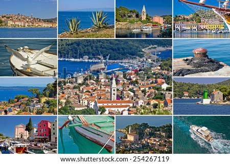 Island of Losinj tourist destination collage postcard, Croatia - stock photo
