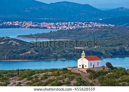 Island of Murter archipelago view, Dalmatia, Croatia - stock photo