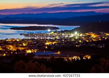Island of Murter sailing destination archipelago sunset view, Dalmatia, Croatia - stock photo