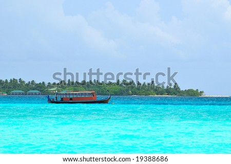 Island of Paradise. White sand beaches with coco-tree and crystal blue water. Maldives. Luxury holidays.