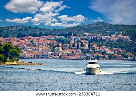 Island of Ugljan yachting destination, Town of Kali in Dalmatia, Croatia - stock photo