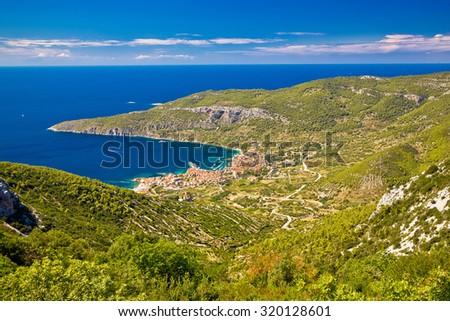 Island of Vis archipelago aerial view of Komiza bay, Croatia, Dalmatia - stock photo