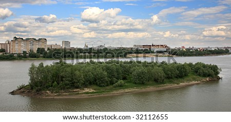 Island on the river Irtysh. Omsk. Russia.