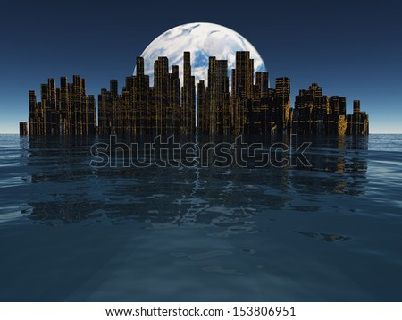 Island or floating city with planet or moon visible beyond - stock photo