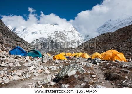 Island peak (Imja Tse) base camp, Everest region, Nepal - stock photo