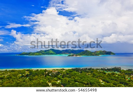 Island Praslin at Seychelles - nature background - stock photo