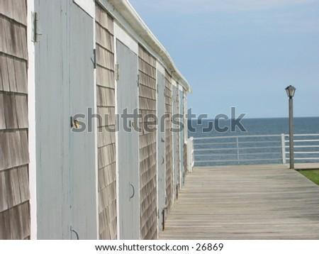 island resort closed for the season - stock photo