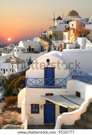 island Santorini Greece Oia, belfry - stock photo