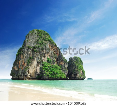 Island sea sand sun beach nature destination wallpaper and background for design at phra nang bay and railay bay krabi Thailand