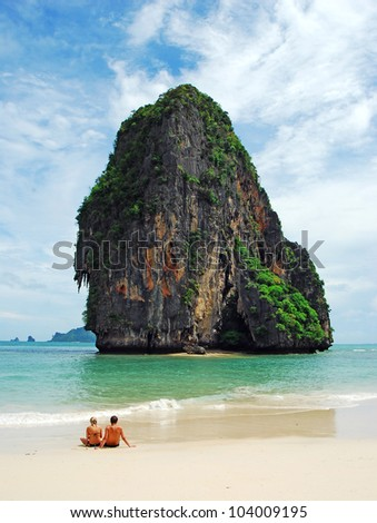 Island sea sand sun beach nature for together destination wallpaper and background for design at krabi in thailand
